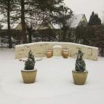 La terrasse du jardin sous la neige